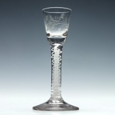 Engraved Georgian Opaque Twist Cordial Glass c1760