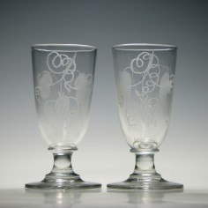 Pair of Engraved Georgian Ale Glasses c1800