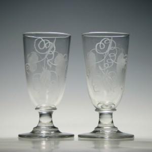 Pair of Engraved Georgian Ale Glasses c1800