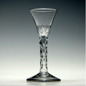 Fine 18th Century Facet Cut Wine Glass c1770