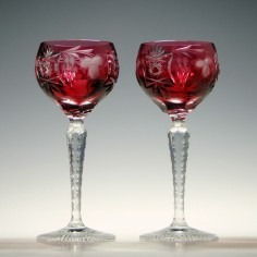 Pair Nachtmann Traube Cranberry Cut and Engraved Wine Glasses
