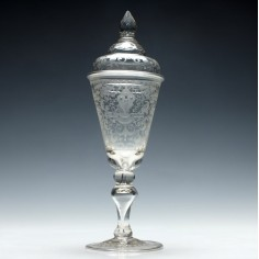 Engraved 18th Century German Covered Goblet c1730