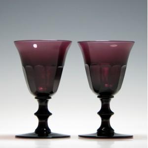 Pair of Victorian Amethyst Port Wine Glasses c1880