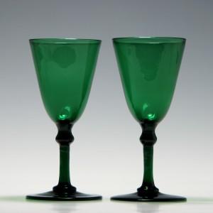 Pair of 19th Century Green Wine Glasses c1830