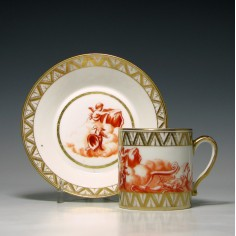 Paris Porcelain Coffee Can & Saucer c1820
