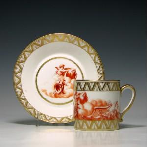 Paris Porcelain Coffee Can & Saucer c1820