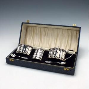 Sterling Silver Cruet Set In Original Case Birmingham 1966