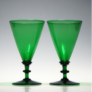 Pair of Victorian Apple Green Glass Rummers c1845