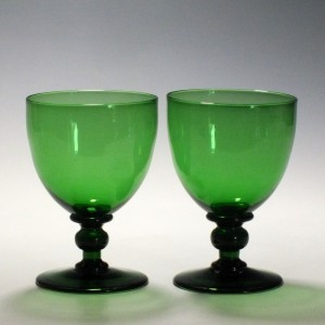 Pair of 19th Century Apple Green Glass Rummers c1845
