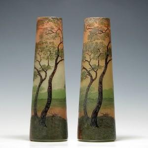 Pair of Legras Enamelled Cameo Landscape Vases c1905