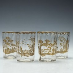 Four 19th Century Gilded Glass Tumblers c1860