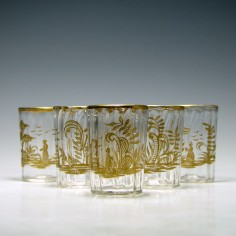 Set of Six 19th Century Gilded Shot Glasses c1860