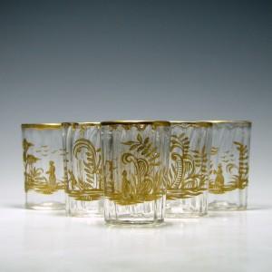 Set of Six 19th Century Gilded Shot Glasses c1860