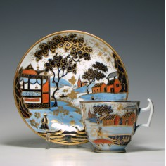 New Hall Pattern 1163 Coffee Cup & Saucer c1820