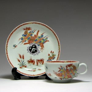 A Rare Worcester Porcelain Arms of Beauville Teacup & Saucer