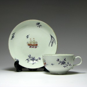 An Extremely Rare Giles Decorated First Period Worcester Crest of Gavin Tea Cup & Saucer 1768