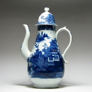 Rare Lowestoft Porcelain Coffee Pot & Cover