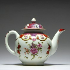 Lowestoft Porcelain Teapot & Matching Cover c1795