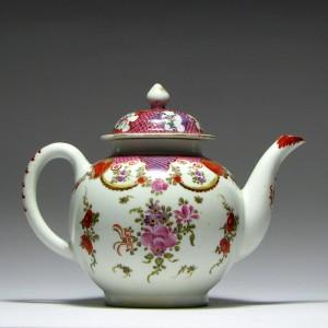 Lowestoft Porcelain Teapot & Matching Cover