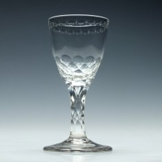 OXO Engraved Georgian Facet Cut Stem Wine Glass c1780
