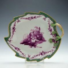Meissen Dot Period Porcelain Leaf Dish c1770