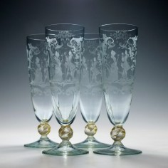 Four Engraved 19th Century Salviati Champagne Flutes