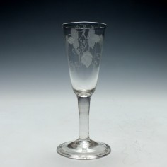 Engraved Plain Stem Ale Glass c1740