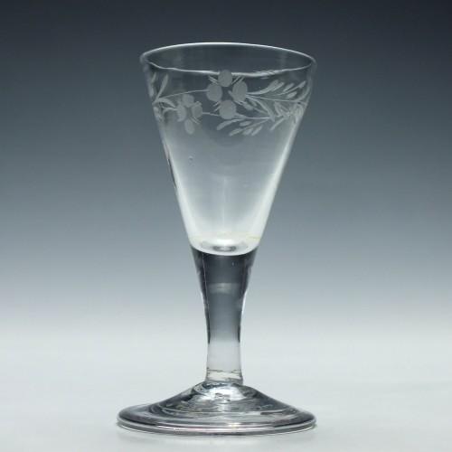 Engraved Georgian Gin Glass c1740
