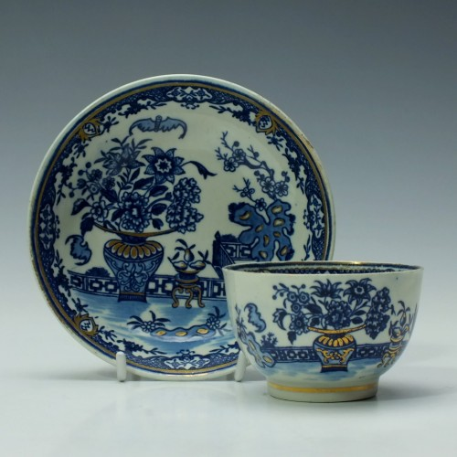 Worcester Bat Pattern Tea Bowl and Saucer c1785