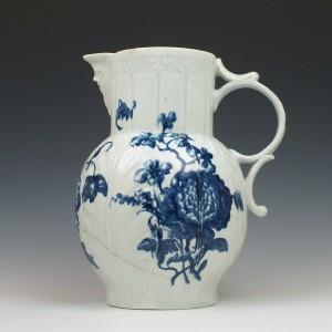 Worcester Heavy Naturalistic Floral Pattern Porcelain Jug c1760