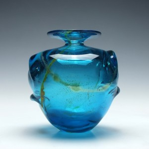 Early Mdina Eared Glass Vase c1975