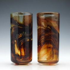 Pair of Mdina Tortoiseshell Glass Vases c1975