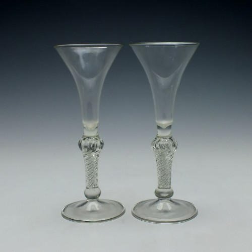 Pair Edwardian Air Twist Wine Glasses c1910