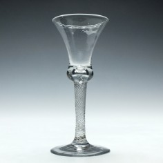 18th Century Incised Twist Wine Glass c1755