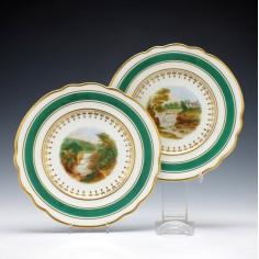 Pair Chamberlains Worcester Porcelain Plates c1820