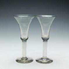 Pair of 19th Century Plain Stem Wine Goblets c1890