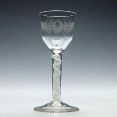 Engraved Opaque Twist Wine Glass c1850