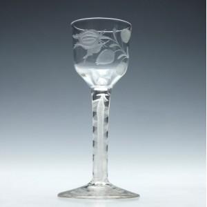 Engraved Jacobite Sympathy Opaque Twist Wine Glass c1760