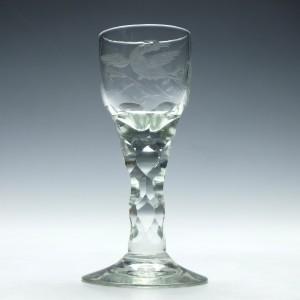 Edwardian Facet Cut Wine Glass c1910