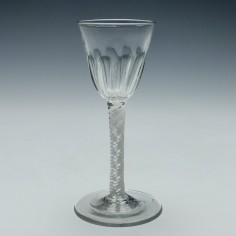 18th Century Petal Moulded Single Series Opaque Twist Wine Glass c1760