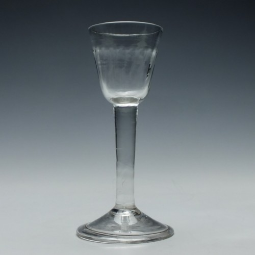 Georgian Rib Moulded Plain Stem Wine Glass c1740