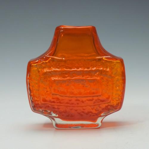 Whitefriars Orange Concentric Rectangle TV Vase c1970