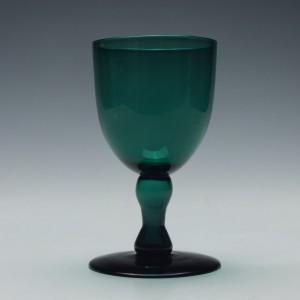 Victorian Green Hollow Stem Wine Glass c1850
