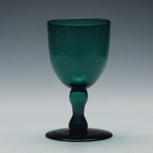 Victorian Green Hollow Stem Wine Glass c1850