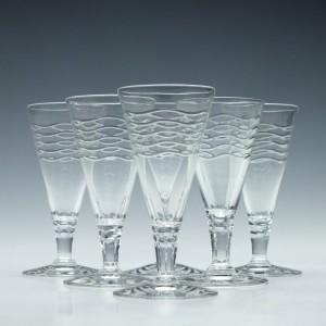 Six Webb Corbett Wave Pattern Glasses By Irene Stevens c1955