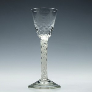 Hammer Moulded Opaque Twist Wine Glass c1760
