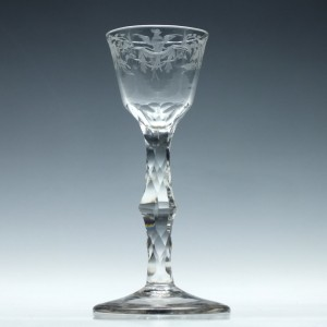 18th Century Engraved Facet Cut Wine Glass