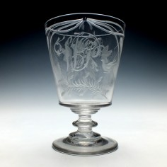 Large Engraved Georgian Bucket Bowl Glass Rummer c1820