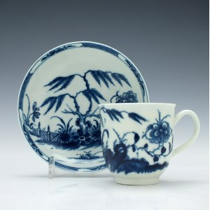 Worcester Candle Fence Pattern Coffee Cup and Saucer c1765