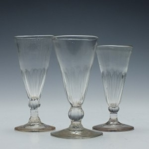 Collection of Three Petal Moulded Ale glasses c1770